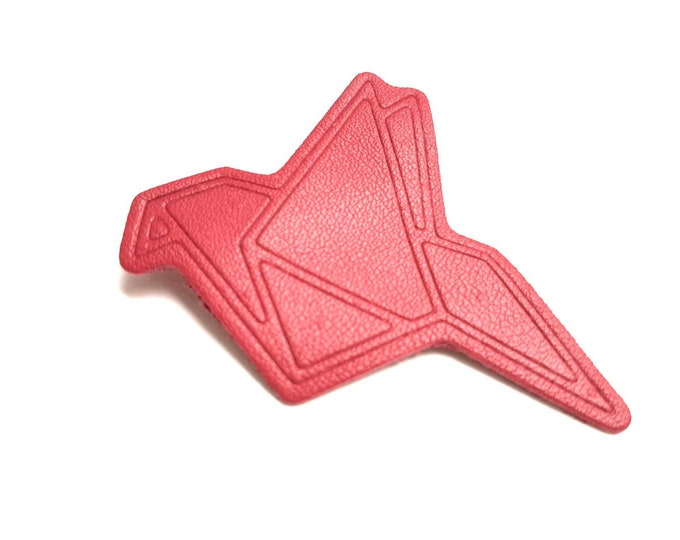 Brooch leather bird origami