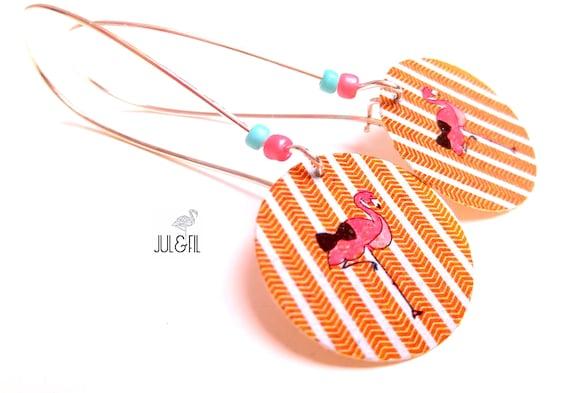 Bow tie on herringbone Flamingo earrings