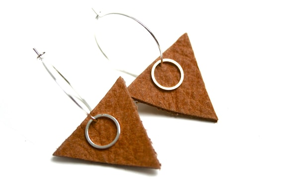 Earrings rings thick rawhide geometric triangles smooth ring