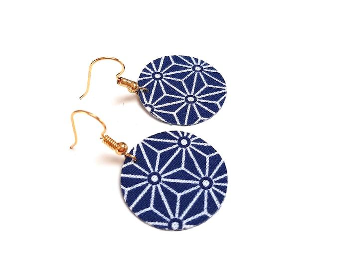 Earrings fabric Japanese star asanoha gold crochet (or silver on demand)