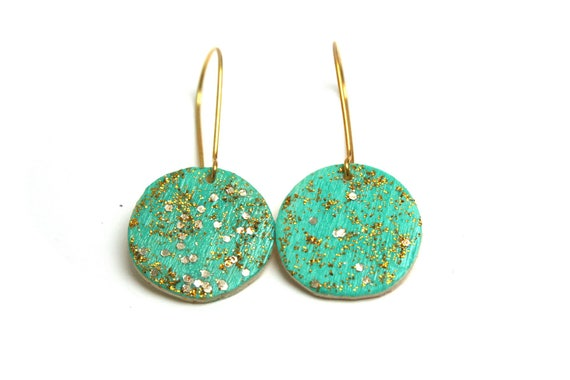 Minimalist turquoise and gold, brass and wood earrings handpainted, gilded brass hooks.