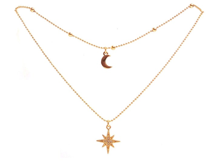 Fine multi-row moon polar star woman necklace