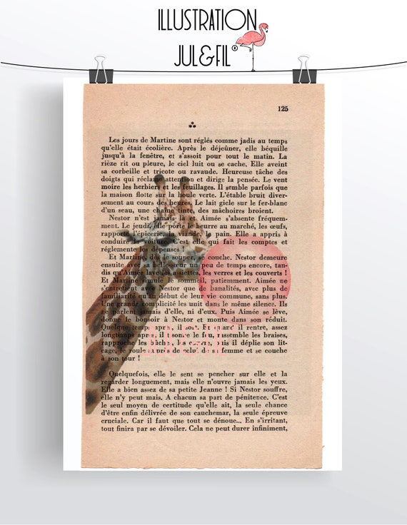 Illustration to frame giraffe making a bubble on old novel