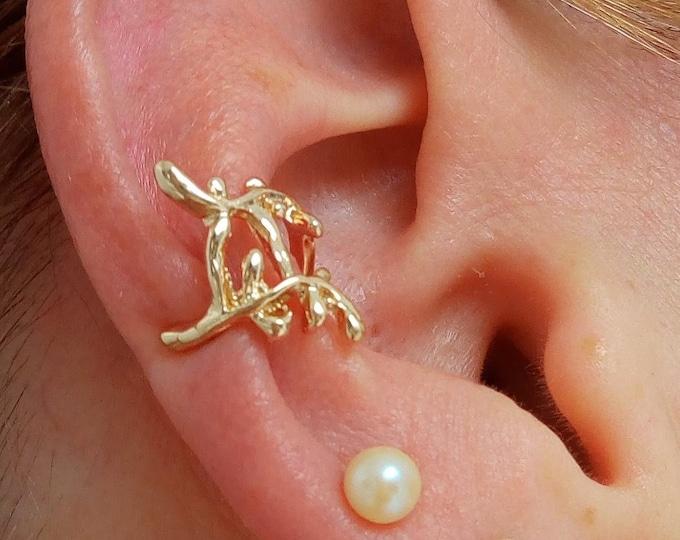 Ear cuff brass ear jewel leaves