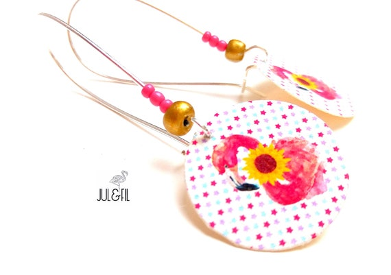 Pink Flamingo earrings sunflowers on a starry background