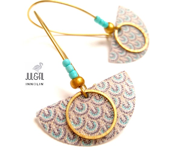 Josephine sleepers gold linen INNOLIN ©, brass and turquoise beads