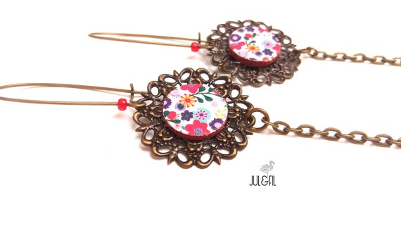 Filigree earrings liberty flower print on canvas