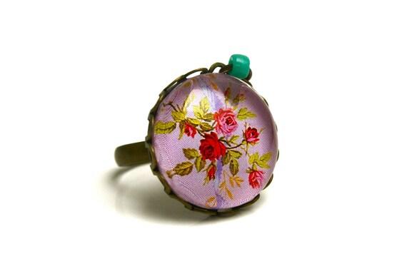 Vintage purple cabochon bronze glass adjustable flower ring