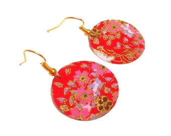 Japanese floral fabric rings, gold crochets (or silver on demand)