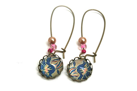 Earring cabochon liberty blue cabochons