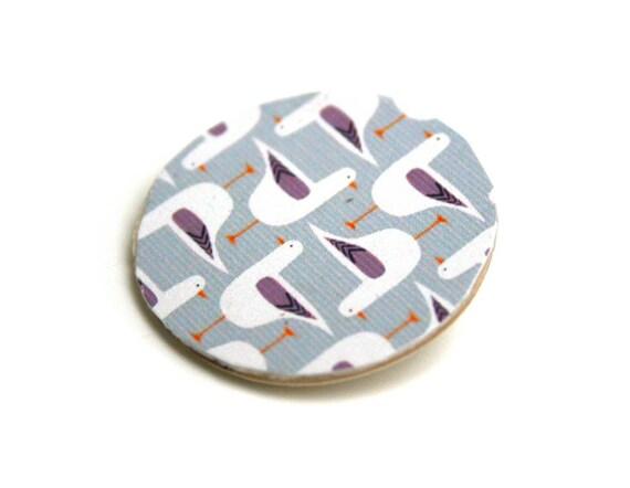 Wooden Scandinavian geometric seagulls pin
