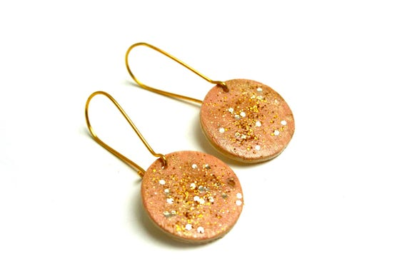 Stud Earrings, wood and brass minimalist, beige pink blush, nude and gold, hand painted, gold-plated brass hooks.
