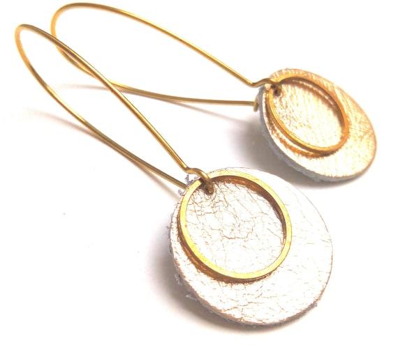 Pop earrings gold leather goldskin, brass
