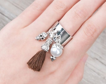 Boho ring with pearl pompom charms