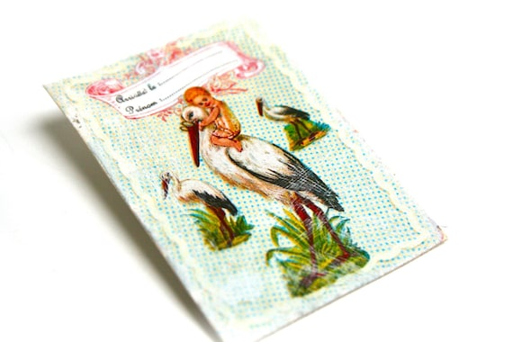 Brooch vintage rustic country print on canvas coated vintage Stork