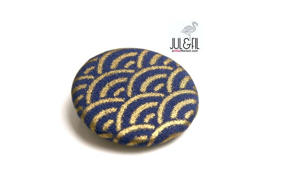 Japanese fabric brooch gold blue precious sengaiha