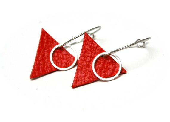 Coral red leather earrings triangle geometric small rings