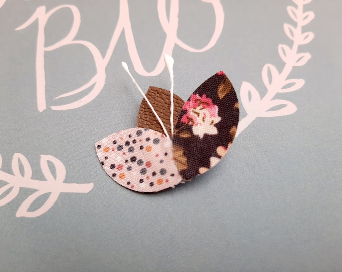 Brooch leather petals and fabric flowers lotus peas, gift woman, birthday, wedding, bridle