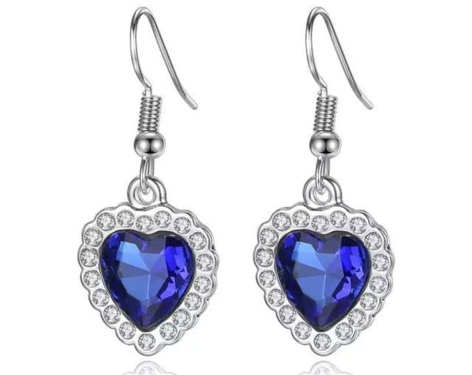 Earrings heart of the ocean crystal blue gift woman birthday christmas wedding bridle