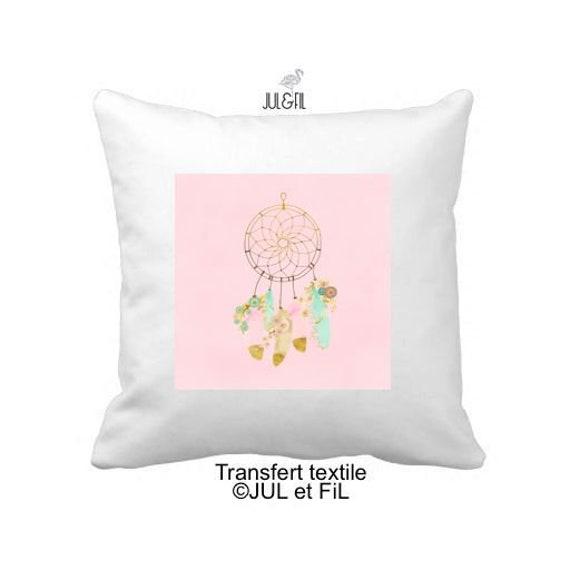 Textile transfer iron on blotter pink dreamcatcher