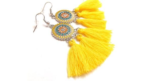 Boho earrings tassel enameled