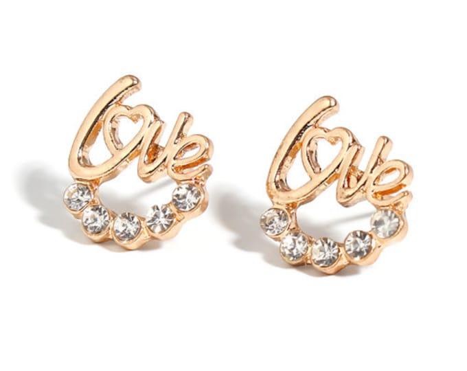 Studs earrings love love golden brass women