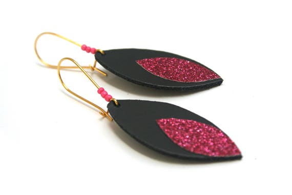 Glitter and leather, black sequin shuttle earrings roses