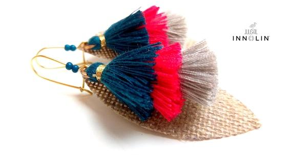 On organic linen tassel earrings
