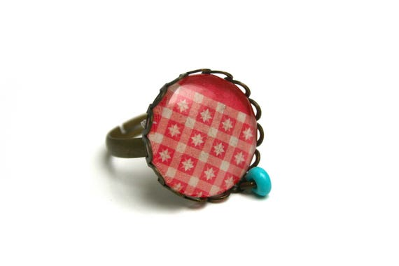Contemporary geometric cabochon ring coral turquoise star cabochon glass Adjustable ring