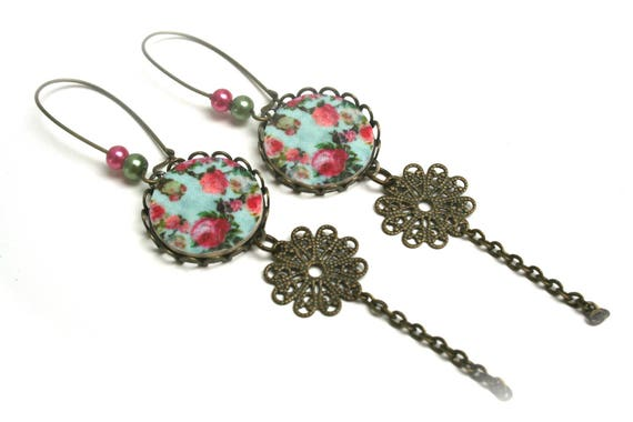 Earrings vintage wood and bronze vintage filigree brass chain print floral print