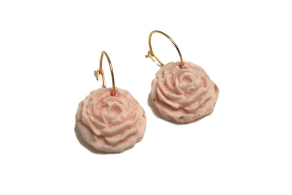 24 k gold plated earrings powder pink porcelain rose