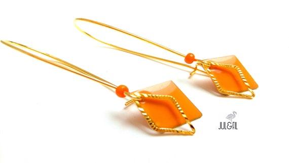 Earrings geometric brass enameled