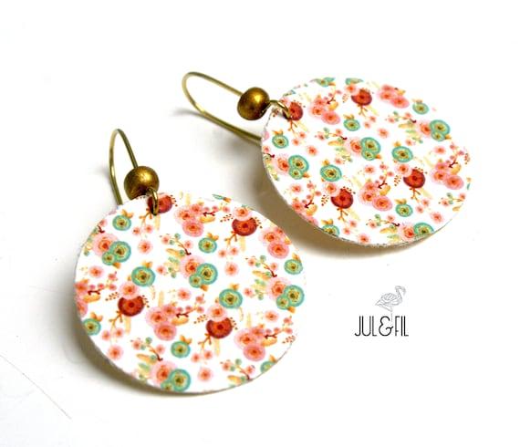 Bohemian flower wood earrings