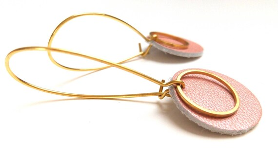 Pop earrings pink leather powder Pearl