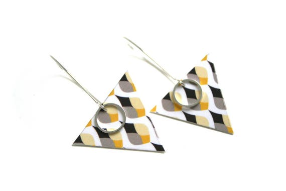 Leather triangle drop earrings Scandinavian
