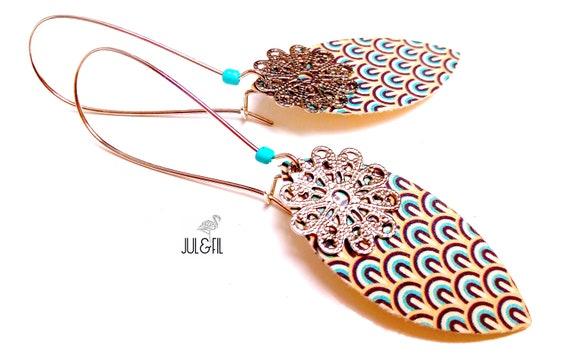 Shuttle print brass art deco earrings
