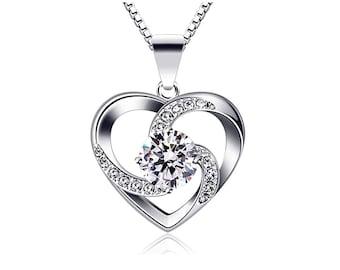 Austrian crystal heart necklace volutes rhinestones