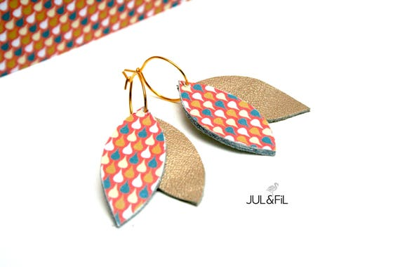 Earrings leather and gold plated, geometric, Japanese pattern
