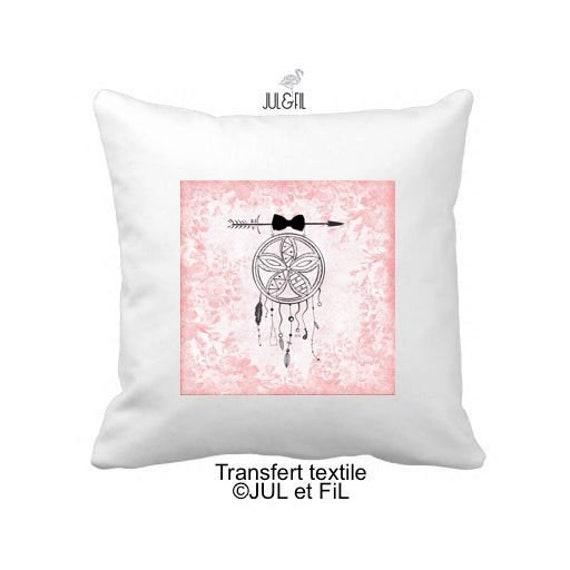Textile transfer iron on pink bow dreamcatcher filigree