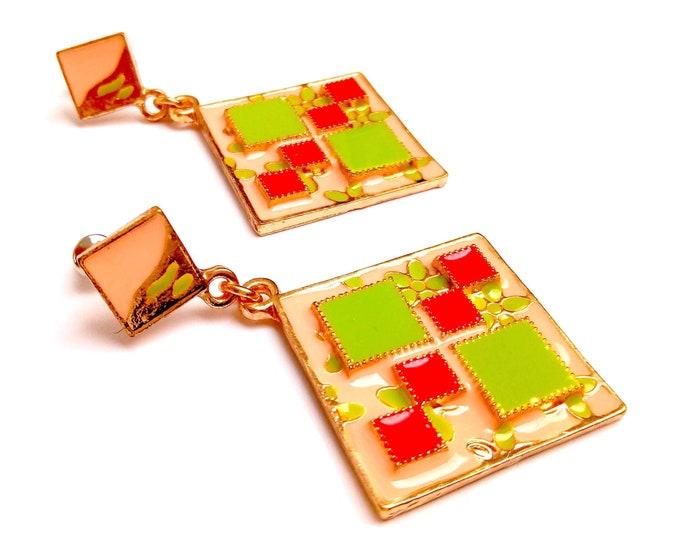 Square enamel dying earrings