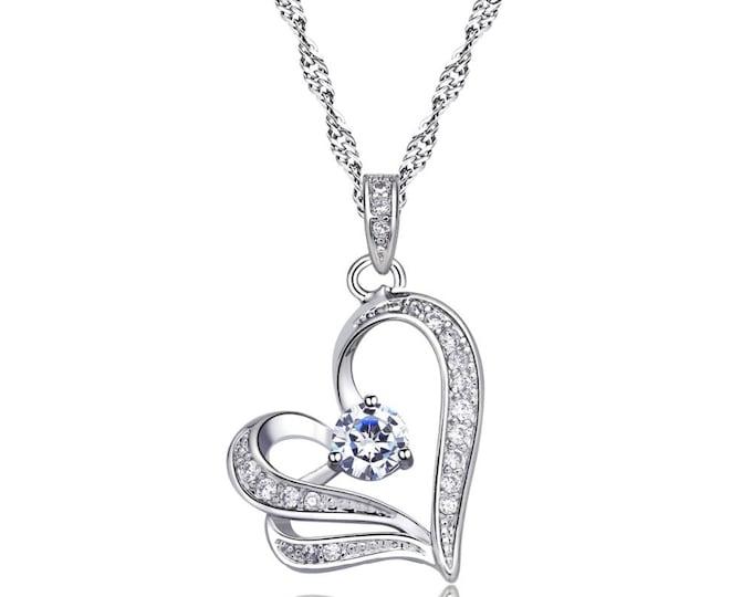 Austrian crystal hearts pendant necklace