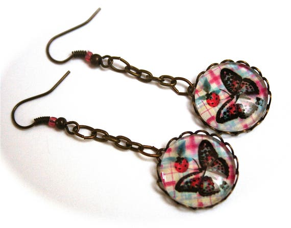 Butterfly Ladybug antique bronze glass cabochon earrings