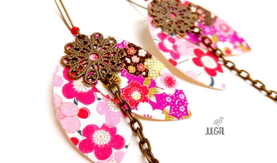 Asian earrings Akemi shuttles Japanese fabric petals, brass stamp