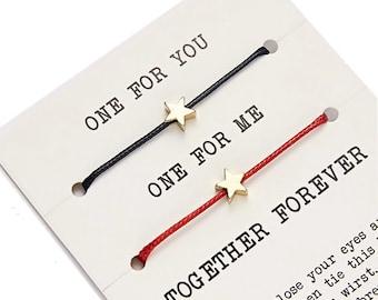 Duo bracelets you love me friendship together for ever inseparable adjustable stars