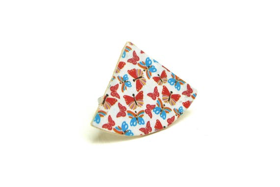 Wooden triangle/quarter graphic, printed round ring geometric butterflies