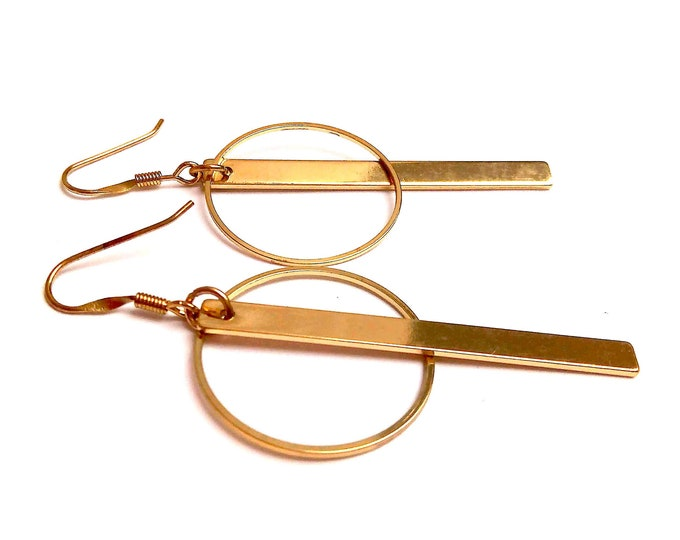 Geometric brass dinging earrings