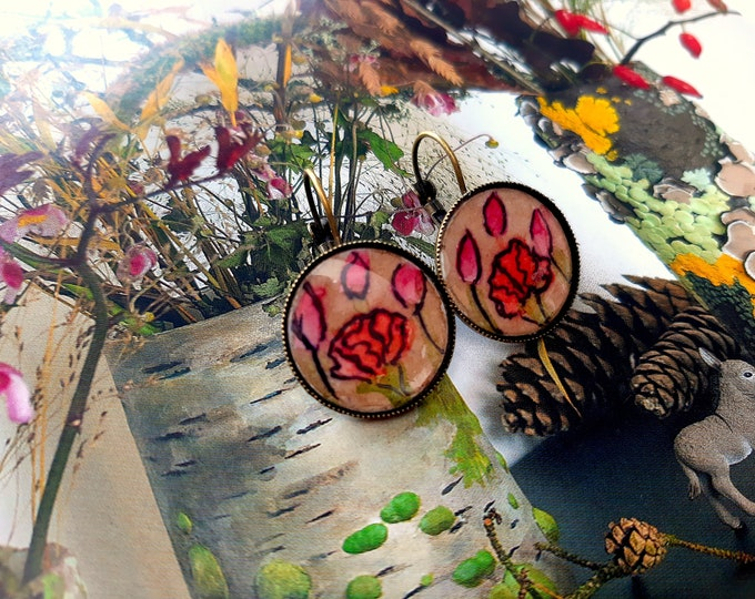 Sleepy watercolors hand-painted cabochon poppies