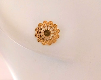 Studs, watermark chips flowers golden brass fine gold