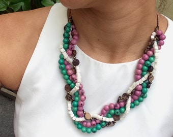 tagua necklace, tagua nut necklace, handmade, Eco Friendly, acai,acai necklace tagua jewelry,  vegetal ivory, necklaces, coconut necklace