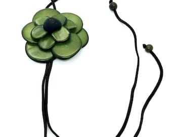 Necklace, Handmade, flower necklace, bolo tie necklace, tagua jewelry, tagua nut, fair trade, tagua nut flower,necklace, tagua, bolo